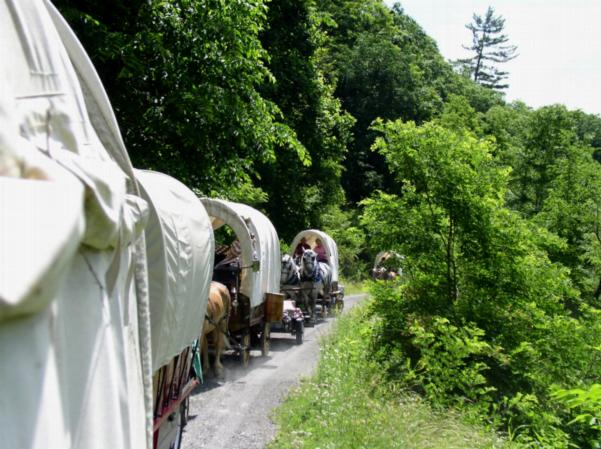 A wagon train on the Greenbrier River Trail